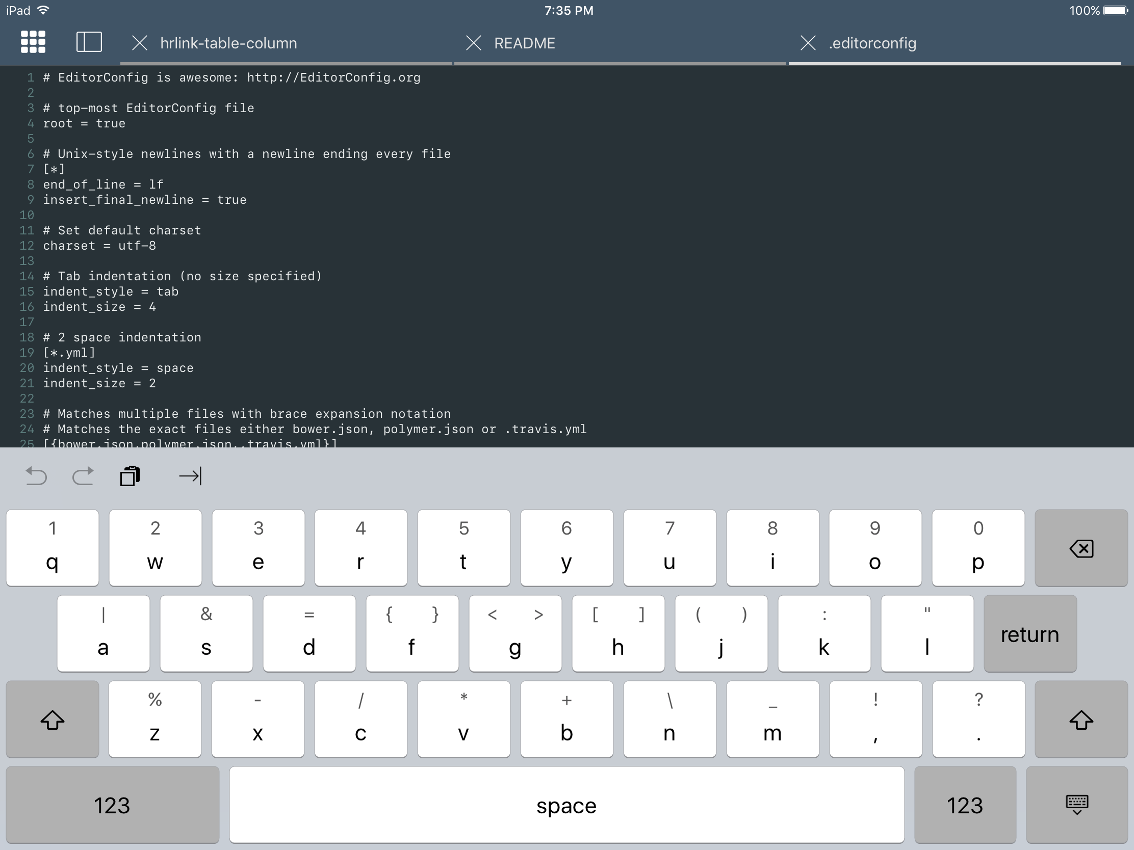 Keyboard like swift playground source eg Textastic for iOS